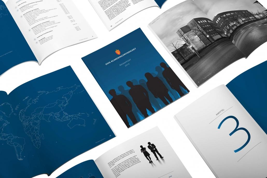 Årsrapport Sivil Klareringsmyndighetforside og oppslag