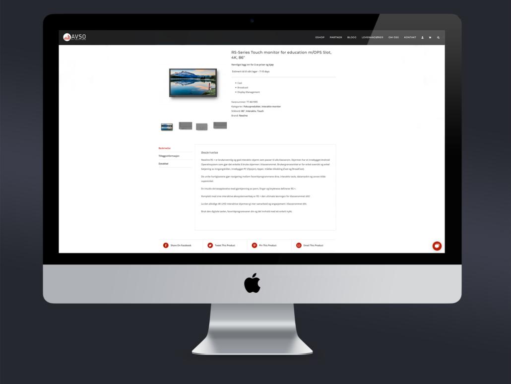 AV Solutions nettside og nettbutikk av Sandaunet Designbyrå