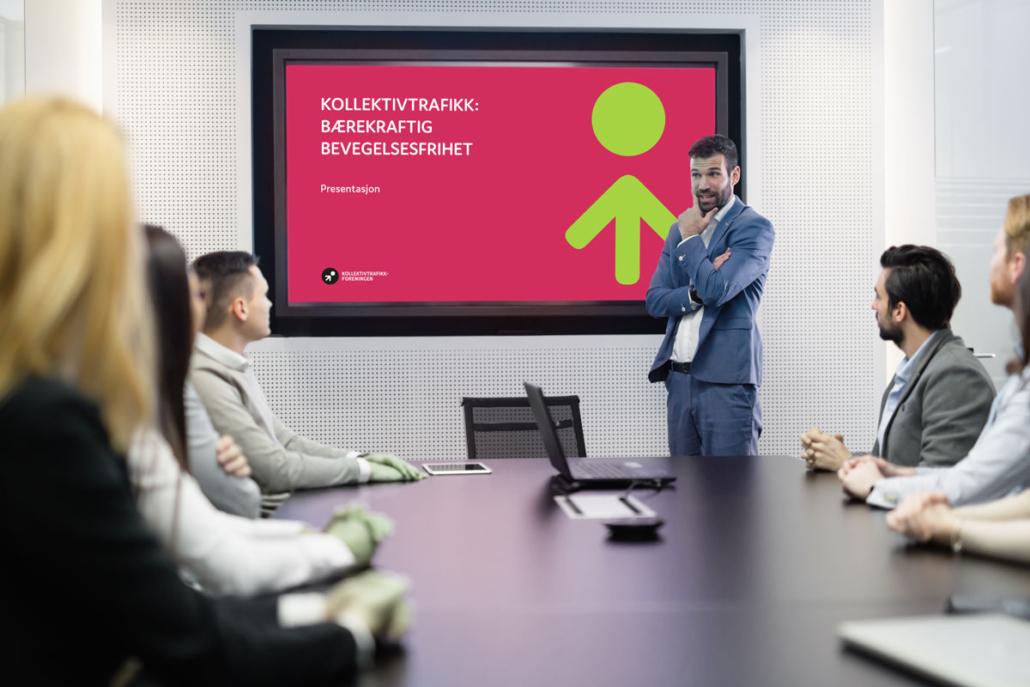 Sandaunet Designbyrå powerpointpresentasjon for Kollektivtrafikkforeningen